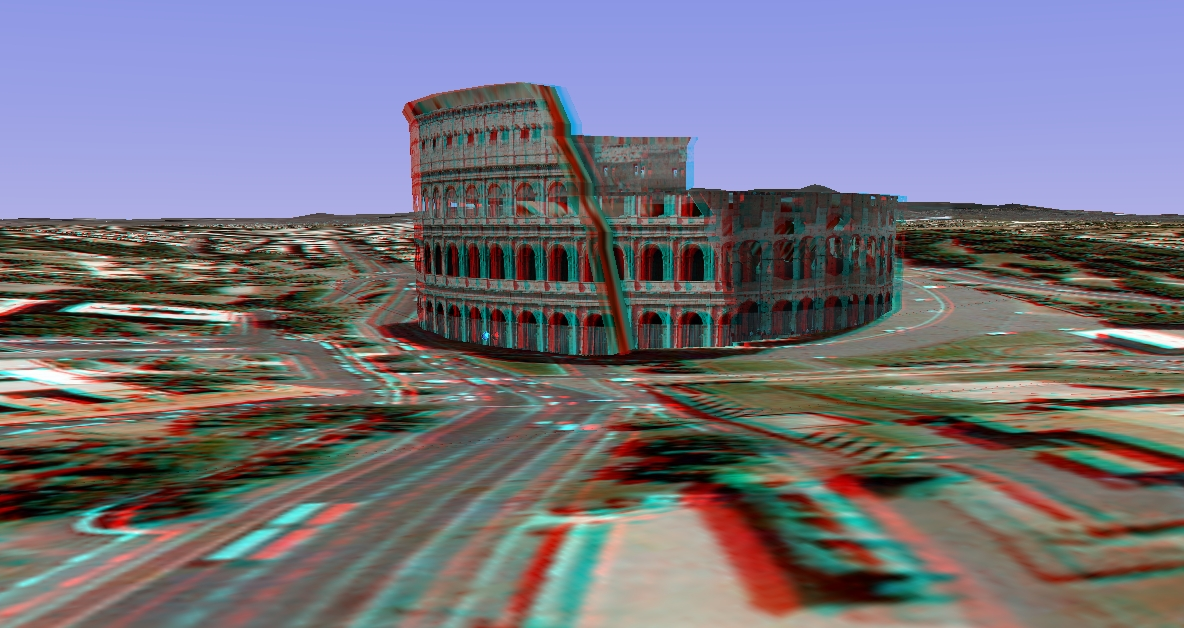 3D image anaglyph - Rome - Colosseum
