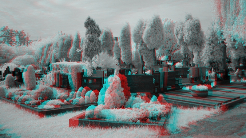 3D image - anaglyph - infrared - cemetery-