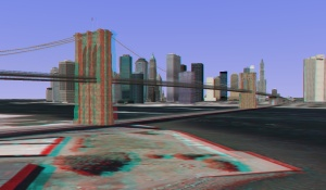 3D - anaglyph - Brooklyn Bridge - New York